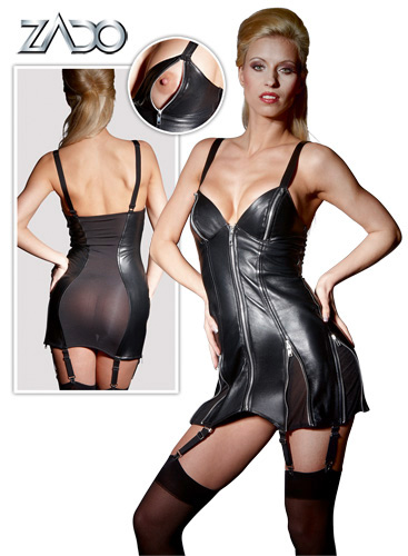 Leather Suspender Minidress
